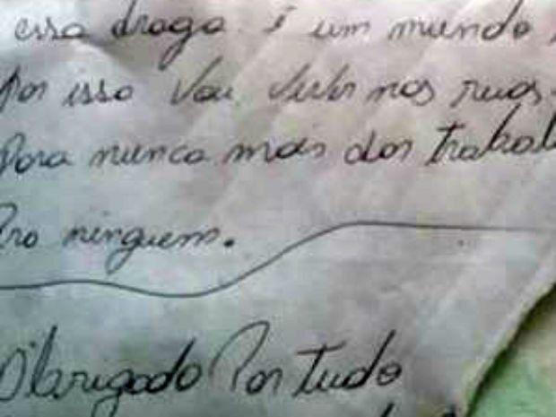 Homem escreveu carta arrependido após o crime (Foto: Polícia Civil/Divulgação)