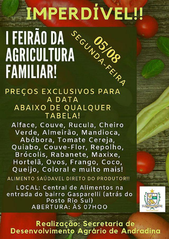 Feirão de hortifrútis começa partir das 7 horas, na Central de Alimentos, localizada na entrada do bairro Gasparelli – crédito: Secom/Prefeitura